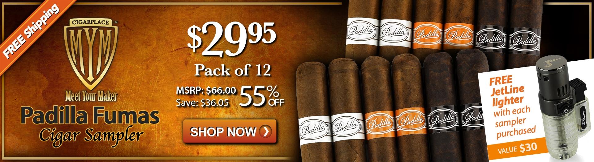 MYM - Padilla Fumas Cigar Sampler + FREE JetLine Triple Torch Lighter